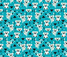 Koala winter blue geometric australian animal kids fabric fabric by littlesmilemakers on Spoonflower - custom fabric