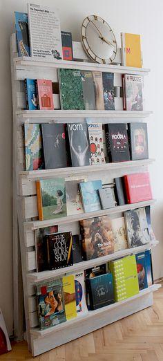 présentoir livres palettes
