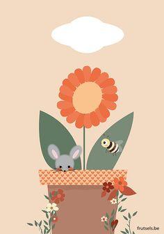 wenskaartje bloemetjes en bijtjes