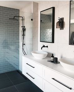 Bathroom decor for the bathroom renovation. Learn master bathroom organization, bathroom decor tips, master bathroom tile tips, bathroom paint colors, and more. Modern Master Bathroom, Modern Bathroom Design, Bathroom Interior Design, Small Bathroom, Master Bathrooms, Bathroom Designs, Black Bathrooms, French Bathroom, Zen Bathroom