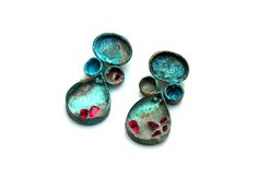 """01007 by Katie Poterala - Copper, Patina, Cement, Synthetic Rubies  -  2""""x1""""x.5"""""""