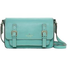 Pre-owned Kate Spade Essex Scout Cross Body Messenger Rare Carribean... ($279) ❤ liked on Polyvore featuring bags, handbags, shoulder bags, carribean blue, leather shoulder bag, blue leather handbag, leather handbags, green leather purse and kate spade crossbody