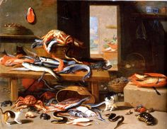 Jan van Kessel,(1626-1679) cats and crustaceans. Oil painting, Flemish, still life. Scan of 2 d image in the public domain believed to be free to use without restriction in the US.