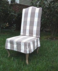 Slipcover for a Parsons Chair, Design by Rachel Halvorson, Workroom Camille Moore Window Treatments