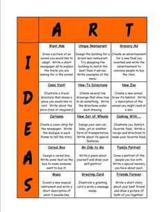 Love this chart for drawing ideas - would be great to leave for an art sub (this site has great visuals for classroom management in the art room)