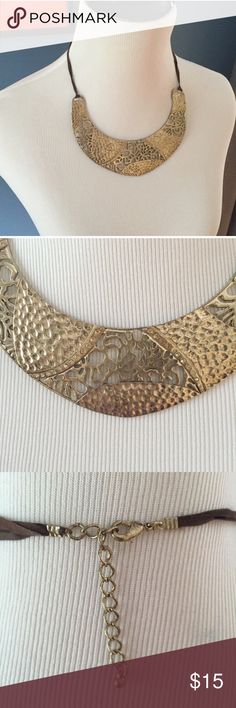 Gold Bib Necklace This gold tone  bib necklace is a great statement piece. Lobster clasp. Jewelry Necklaces