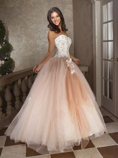 Champagne ball gown embroidery corset bodice and tulle skirt prom dress