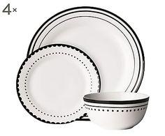 Set tavola in porcellana nero I, 12 pz