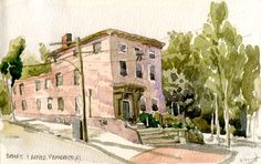 Edward Huff,| benefit&arnold-6-24-15 | Another day sketching in Providence  - this one still needs some work to shape things up a bit but I just ran out of time - 8x5 inches