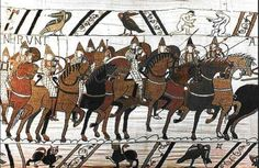 horses on the Bayeux Tapestry 11thC - look, no hoof feathers!