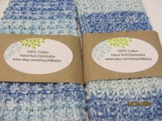 Cottage Dishcloths  Shade of Blues  Ocean Theme by AMailys on Etsy, $5.00