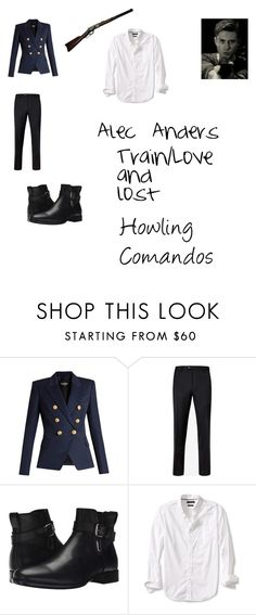 """Train/Love and lost"" by jdefloria on Polyvore featuring Balmain, Ted Baker, Aquatalia by Marvin K., RIFLE, Banana Republic, men's fashion and menswear"