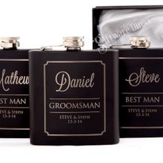 3 x Engraved Black Hip Flask Gift Set Personalised Wedding Groomsman Bridal Party and 3 x Free Engraved Whiskey Glasses Personalised Hip Flask, Personalized Wedding, Wedding Gifts For Men, Wedding Ideas, Groomsman Gifts, Wedding Guest Book, Bridal Shower Invitations, Flasks, Groomsmen Presents