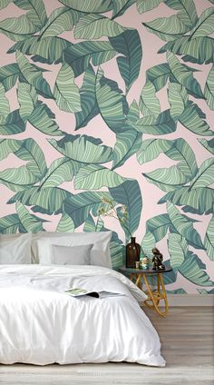 Pink-and-Green-Tropical-Leaf-wallpaper