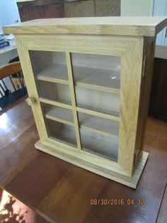 OAK MISSION TABLE TOP OR HANGING GLASS DISPLAY CASE OR CUPBOARD
