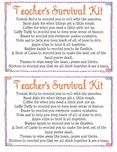 Teacher's Survival Kit....more printable item quotes