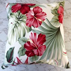 cushion cover retro hibiscus tropical for sale on Trade Me, New Zealand's auction and classifieds website Diy Pillows, Decorative Pillows, Throw Pillows, Lampe Retro, Palmiers, Tropical Design, Printed Cushions, Perfect Pillow, Fabric Painting