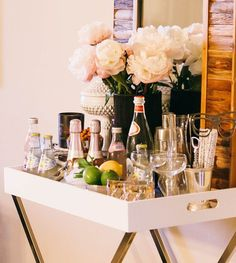 Simple, edited bar cart for a party