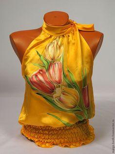 "Купить Топ-батик ""Тюльпаны"" - блузка, блуза из шелка, топ, Батик, шелковая блузка"