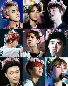 EXO with Flower Crowns Collage