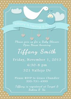 Stork Tiffany Blue Baby Shower Invitation by DaylightDigital, $10.00