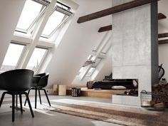 Windows for pitched roofs Velux. Search all products and retailers of Windows for pitched roofs Velux: discover prices, catalogues, and novelties Loft Design, House Design, Interior And Exterior, Interior Design, Simple Interior, Welcome To My House, Roof Window, Balcony Window, A Frame House