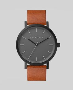 A simple take on the classic time-teller. Featuring a sandblasted, matte-black stainless steel case, with cool grey face, minimalist markers and premium tan lea
