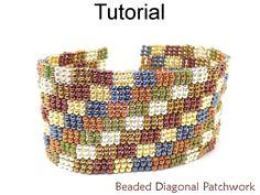 Beaded Diagonal Patchwork 3-Drop Peyote Quilt Bracelet Beading Pattern Tutorial | Simple Bead Patterns
