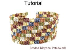 Beaded Diagonal Patchwork 3-Drop Peyote Quilt Bracelet Beading Pattern Tutorial | Simple Bead Patterns