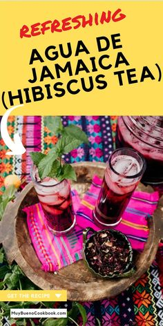 Agua de Jamaica is a great diuretic that is full of Vitamin C and can even lower blood pressure. This refreshing Hibiscus Tea is sweet, tart and delicious! Mexican Food Recipes, New Recipes, Bueno Recipes, Good Food, Yummy Food, Hibiscus Tea, Fresh Mint Leaves, Winter Drinks, Kool Aid