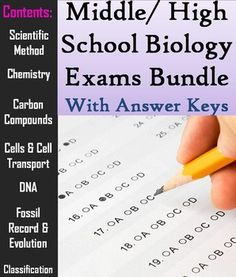 I have used these exams for both Middle and High School students; all questions are multiple choice and have answer keys. Even though course teachings and materials vary slightly from teacher to teacher, almost all of the questions apply to any course curriculum for the subject of Biology in Middle/ High School