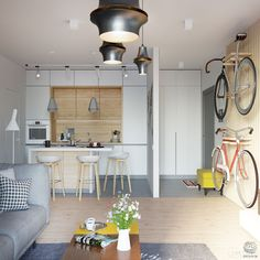 Utilitarian & decorative.....How to store your bike in a small apartment  !
