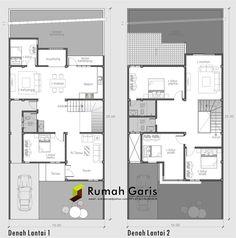 denah rumah sehat modern minimalis 2 lantai Dream House Plans, Modern House Plans, House Floor Plans, Home Room Design, Home Design Plans, House Design, Villa Plan, Lofts, Simple Bedroom Decor