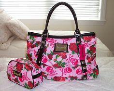 NWT Betsey Johnson Tote Bag w Cosmetic Bag ROCKIN SKULL