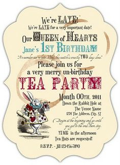 Alice In Wonderland  Mad Hatter Tea Party Invitation Printable