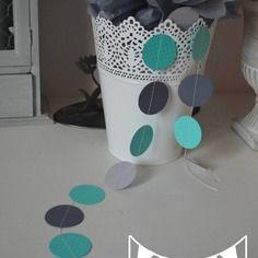 guirlande pastilles rondes turquoise gris clair et fonc dcoration chambre enfant bb dcoration mariage