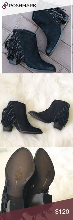 "FINAL PRICEDolce Vita Black Fringe Booties NWT & original box. Gorgeous Dolce Vita black nubuck fringe ankle booties with stacked heel. Zipper closure. 3.5"" stacked heel, 6"" shaft, 9.5"" circumference. Fits true to size. No modeling/trades. Dolce Vita Shoes Ankle Boots & Booties"