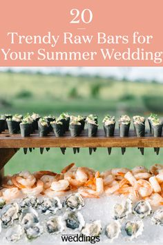 This year a wedding trend has been a raw bar with oysters, sushi, and shrimp. We have combines 20 raw bar inspirational food ideas for your wedding day. Your guests will love this cool reception appetizer! Summer Wedding Menu, Wedding Reception Food, Summer Weddings, Wedding Tables, Carnival Food, Shrimp Appetizers, Raw Bars, Clean Eating Snacks, Wedding Trends