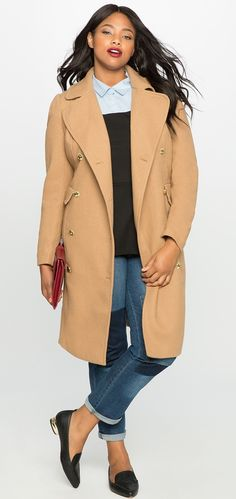 b593678876f Wool-Blend Double Breasted Coat with Hood