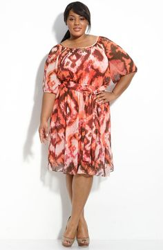 Plus size chiffon dress. Beautiful colour