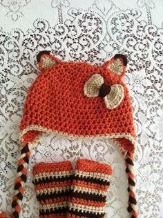Crochet Fox & Bow Earflap Beanie Hat & Leg Warmers - Etsy $12.50
