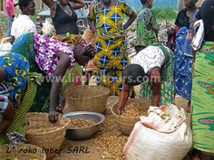 Women at the market in Lokossa, they are selling peanuts.