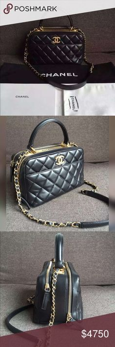 9095d00d84f9 Auth NEW Chanel 2016 Bowling Bag Quilted Black GHW BRAND NEW NEVER WORN!  2016 NEWEST