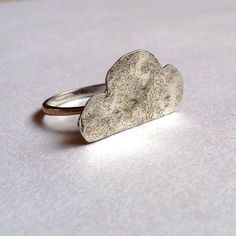 Sterling Silver Cloud Ring - Weather Ring - Chunky Hammered Ring - Recyled Ring