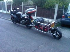 Hayabusa with single wheel motorcycle trailer packed for trip Motorcycle Trailer For Sale, Pull Behind Motorcycle Trailer, Pull Behind Trailer, Motorcycle Tips, Motorcycle Camping, Camping Gear, Small Trailer, Busa, Touring Bike