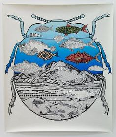 feels calm, contrast between white and blue, symmetry of the bug, variety in colour of the fish Auckland Art Gallery, African Patterns, Nz Art, European Paintings, Art Programs, Linocut Prints, Large Art, Printmaking, Contemporary Art