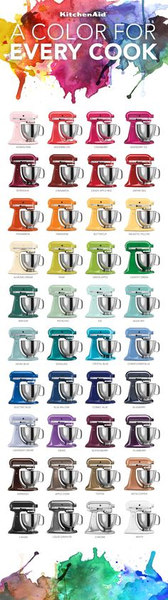 KitchenAid Stand Mixers Infographic | KitchenAid.   I want any one of the following colors: espresso, cornflower blue or crystal blue