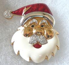 Blue Moon Santa Deer Santa Pin Christmas Brooch Full Moon Pin,M105 Santa Claus Pin Christmas Jewelry