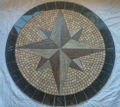 Compass rose tile floor medallion