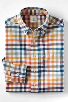 Boys' Pattern Oxford Shirt from Lands' End